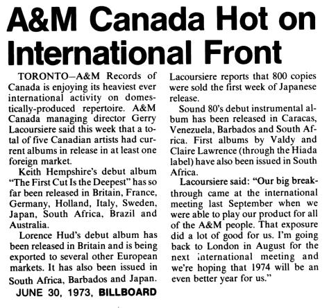 A&M Records Canada Billboard, Bibliography